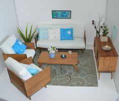 1/6 scale_miniature living room diorama _mid century_ for Fashion Royalty, FR2, Silkstone Barbie, Blythe, Momoko, Pullip dolls.