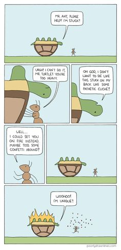 Poorly Drawn Lines Comic: turtle What? This is so sad and funny! Funny Cute, The Funny, Hilarious, Stupid Funny, I Love To Laugh, Make You Smile, Poorly Drawn Lines, Jhon Green, Matsuri Hino