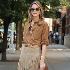Fashion Week Diary | Day 3: Fringe leather skirt by Michael Kors and Gerard Darel suede blouse, Witchery layered necklace,  Carolina Herrera handbag, Aquazurra heels and Mulberry belt. #NYFW