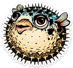 Unique Pufferfish Large Die Cut Sticker Water Bottles, Die Cutting, Laptops, Sunlight, Choices, Lion Sculpture, Rain, Windows, Stickers