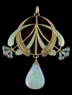 An Art Nouveau gold, enamel, opal and diamond pendant Eugène Feuillâtre, French…… by MyohoDane