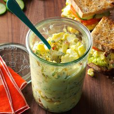 Creamy Egg Salad Recipe -I love this egg salad's versatility - serve it on a nest of mixed greens, tucked into a sandwich or with your favorite crisp crackers. —Cynthia Kohlberg, Syracuse, Indiana Pickle Relish, Pepper Relish, Sandwich Recipes, Salad Sandwich, Soup And Sandwich, Egg Recipes, Home Recipes, Salad Recipes, Sandwich Board