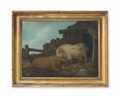 A REGENCY SAND PICTURE OF TWO PIGS IN THE MANNER OF GEORGE MORLAND