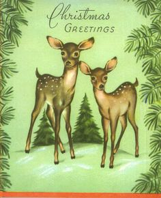 Vintage Christmas Card Woodland Deer and by TheVintageGreeting