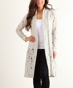 Another great find on #zulily! Pretty Young Thing White Geometric Open Front Cardigan by Pretty Young Thing #zulilyfinds