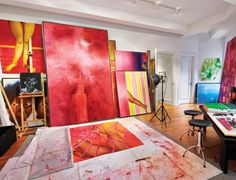 Colorful Paintings in Contemporary Art Studio