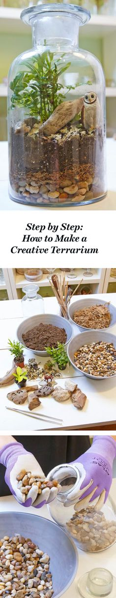 Follow our step-by-step instructions to learn how to create tiny terrariums, where big concepts are condensed into small spaces: http://www.midwestliving.com/garden/container/how-to-make-a-creative-terrarium/
