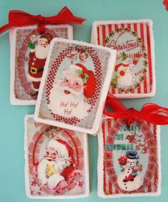 Vintage Christmas Edible Image Wafer Papers for your iced cookies, fondant, chocolates and cake. $9.00, via Etsy.