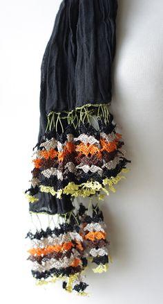 Black Women Scarf, Long Scarf with Turkish Crochet oya, NEW, Oya, Yemeni, Neckwarmer, Spring Fashion wrinkled scarf