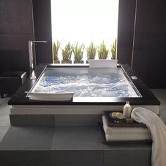Jacuzzi Bathroom, Big Bathtub, Bathtub Decor, Jacuzzi Tub, Whirlpool Bathtub, Luxury Bathtub, Master Bathroom, Master Bathtub Ideas, Two Person Bathtub
