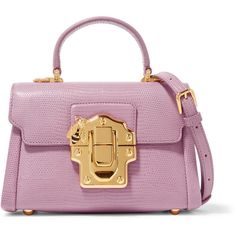 Dolce & Gabbana Lucia mini lizard-effect leather shoulder bag ($2,830) ❤ liked on Polyvore featuring bags, handbags, shoulder bags, pink, purple leather handbag, pink purse, leather shoulder handbags, mini purses and genuine leather handbags