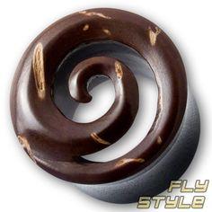 HORN FLESH TUNNEL KOKOSNUSS holz plug ohr piercing spirale ear tube wood organic