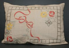 This is a wonderfully designed hand embroidered early 20th century Arts and Crafts Linen Pillow. It eight stylized Macintosh/Dard Hunter flowers and a beautiful pink ribbon embroidered into the front.  20″ L x 16″ W x 5″ H  $170 + $15.00 Shipping