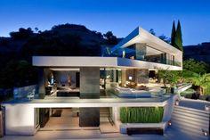 Pared chimenea visible desde el exterior!!---Las mejores fotos de fachadas de casas modernas, casas modernas minimalistas, casas modernas adosadas, casas modernas prefabricadas.