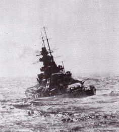 Battleship Scharnhorst wallowing in a North Atlantic swell during her successful…