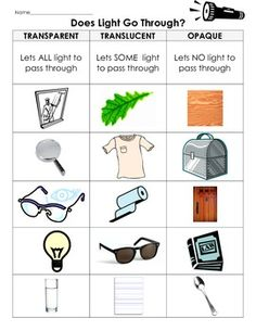 SCIENCE - Transparent, Translucent, Opaque Light Experiment, Definitions with cut and paste