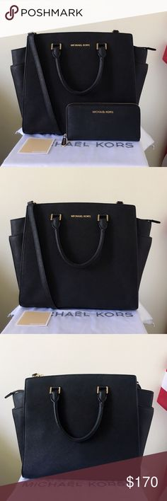 Michael Kors XL Selma With Large Wallet A great set for everything! Black Saffiano leather with gold detailing. Both are lightly used. Authentic.  The Selma Satchel is in XL size, comes with a long strap. Shows minor wear on the hardware, please see pictures for detail. Overall in good condition.  Wallet is lightly used. Minor wear on the hardware, other than that in good condition.   Measurement: 15*12*5 inch  Dust bag is included Michael Kors Bags Satchels