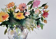 ORIGINAL Watercolor Painting, Floral Painting, Colorful Flowers In a Vase 5.5x8 Inch