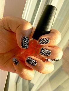 Zebra - Leopard on white color Nails Ideas