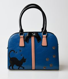 UniqueVintage Voodoo Vixen Blue Atomic Kitty Embroidered Handbag Detachable Crossbody Strap