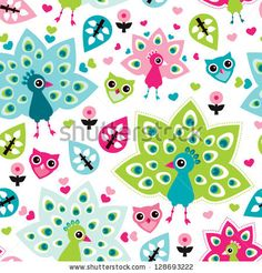Seamless peacock bird and owl oriental kids background pattern in vector by Maaike Boot, via ShutterStock