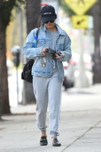 Vanessa Hudgens wearing Chanel Black Quilted Leather Backpack Gucci Princetown Slippers Lanston Sport Pistola Jacket