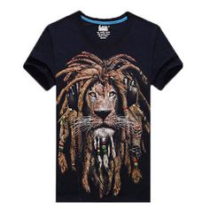 Fashion Mens T Shirts Cool lion Printed 3D T-Shirts Punk 3D Short Sleeve T- Shirt hip hop T Shirt men M-4XL 23