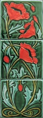 Poppy vertical Triptych tiles. Original Design by Mary Philpott Verdant Tile. copyright protected.