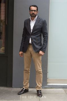 Street Style   Business Casual - Smart office wear can sometimes end up looking a bit bland. Make things more interesting with blazer and chino combination as opposed to a full suit, the colour contrast stops it becoming business boring   Shop the look at The Idle Man