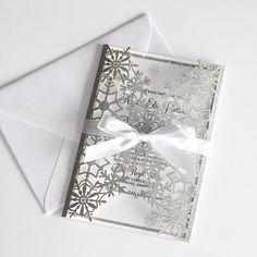 Snowflake Invitations, Glitter Invitations, Laser Cut Wedding Invitations, Elegant Invitations, Shower Invitations, Laser Cut Invitation, Invitation Envelopes, Snowflake Wedding, Reception Card