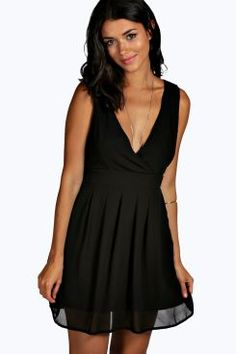 Lisa Wrap Skater Dress at boohoo.com