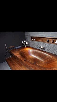 Funny pictures about Amazing wooden bathtub. Oh, and cool pics about Amazing wooden bathtub. Also, Amazing wooden bathtub. Wood Tub, Wood Bathtub, Wooden Bathroom, Modern Bathtub, Wood Sink, Bathtub Decor, Wood Shelves, Shelving, Into The Woods