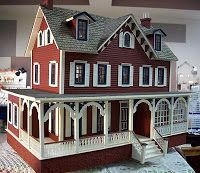 Brick red and white trim traditional colors for farmhouse Victorian .