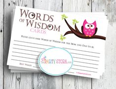 Girl Baby Shower Game, Words of Wisdom Advice Cards, Pink Owl, PRINTABLE by The Party Stork. other games available. $5.99, via Etsy.