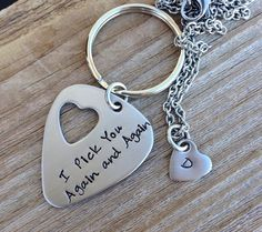 Personalized guitar pick keychain and necklace set by CMKreations, $24.00