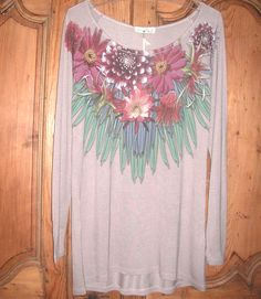 Long-Sleeve Flower T-Shirt Tapestry, Long Sleeve, Fashion Online, Flowers, Sleeves, How To Make, T Shirt, Decor, Hanging Tapestry