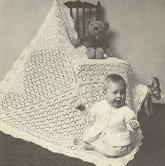 4d square baby shawl vintage baby knitting pattern by Ellisadine, £1.00