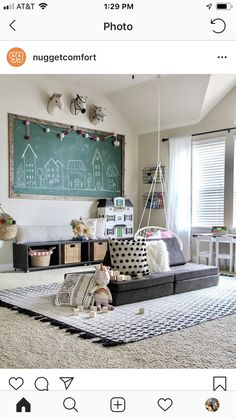 I would like a loft conversion feel for a playroom. The ceiling would need to be sloped for authenticity. Like the storage, sofa and small table in te background Playroom Organization, Office Playroom, Playroom Decor, Kids Decor, Bonus Room Playroom, Vintage Playroom, Playroom Seating, Organized Playroom, Playroom Table