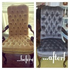 Thrift Store Revival brings you a before and after image of a set of Queen Anne Chairs. The color went from a fading peach to a Pearl Grey. The dye was RIT dye and I used a spray bottle to apply. Brilliant!