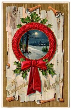 Antique Christmas Greeting Postcard Large Red Wreath Scroll Farm 1910s  by SandyCreekCollectables for $5.00