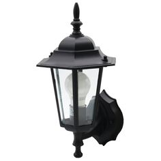 This Ever 1-light outdoor wall light fixture in black creates a warm and inviting welcome presentation for your home's exterior. Its traditional design was made to complement a wide range of architectural styles. Your porch, entryway or garage area will be perfectly illuminated thanks to the clear glass panels lining the fixture. This exterior wall sconce uses one 60W bulb or LED equivalent. For easy installation, mounting hardware and instructions are included.