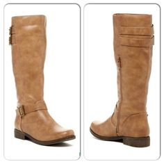 """NIB Taupe Double Strap Riding Boots NIB Taupe Double Strap Buckle Riding Boots. The perfect color for all of your fall and cool weather outfits! Rounded toe boot, fits TRUE TO SIZE. Double strap with buckle detailing behind upper calf and ankle area. Inner ankle zippers for easy on and off wear. Shaft height approx 14"""", opening circumference approx 15"""". Heel height 1.25"""". Man made materials. No Trades and No Paypal⭐️PLEASE DO NOT BUY THIS LISTING, COMMENT WITH SIZE AND I WILL MAKE A NEW…"""