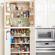 Try this pantry organization strategy: Unorganize to reorganize. More storage solutions: http://www.bhg.com/blogs/better-homes-and-gardens-style-blog/month-of-storage/?socsrc=bhgpin0116132MOSPantryOrganization