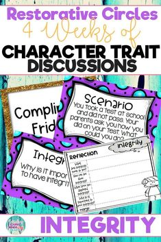 Conduct restorative circles in your classroom with these ready to use templates that are full of questions, discussion topics and ideas that can be used during circle time. This product stems around the character trait of integrity and includes discussion questions, scenarios and/or act it out activities. Click the link below to have your students listening, discussing and learning from each other! #restorativecircles #charactertraits #circletime  #charactereducation #classroomcommunity