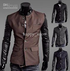 Army green Men Synthetic Leather Splice Casual Suit New 4 Colors/ Sizes Coats & Jackets Blazer En Cuir, Leather Blazer, Leather Sleeves, Pu Leather, Leather Collar, Casual Suit, Casual Blazer, Sleeveless Blazer, Man Fashion