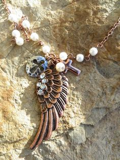 Cowgirl Bling COPPER ANGEL WING FEATHER Pearl CROSS Rhinestones Gypsy Necklace #Unbranded #necklace