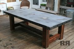 Concrete Table with Barnwood Base