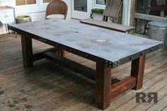 Concrete Table with Barnwood Base