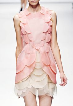 Layered Scallops - pink & cream dress with decorative scalloped trim; pretty fashion details
