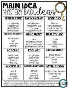 ED: Main idea mystery bag ideas Reading Lessons, Reading Strategies, Reading Activities, Reading Skills, Teaching Reading, Reading Comprehension, Guided Reading, Main Idea Activities, Comprehension Strategies